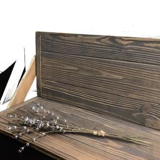 Угловой фотофон деревянный двусторонний коричневый с серым