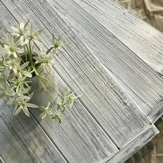 Деревянный фотофон белый с серыми потертостями