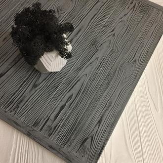 Деревянный фотофон серый с темными полосами