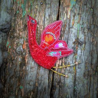 Брошь птичка красный журавль