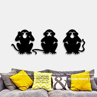 """Деревянная картина-панно """"Три обезьяны"""""""