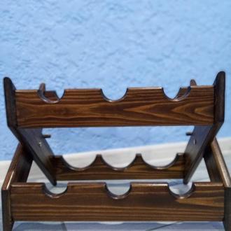 Складная деревянная подставка для винных бутылок 6 шт. (sh00003)