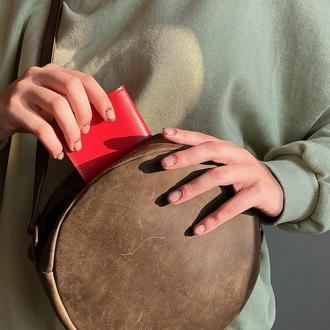 Кожаная сумочка круглой формы ( sahara)