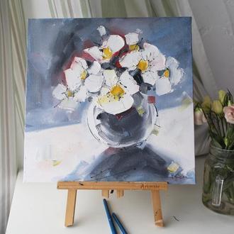 Картина маслом букет цветов в вазе