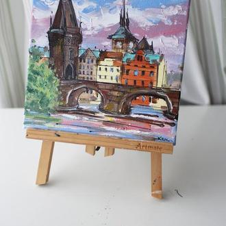 Картина маслом Прага міст