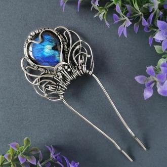 """Шпилька для волосся """"Квітка"""" з синім лабрадором. Прикраса для довгого волосся. Подарунок дівчині"""