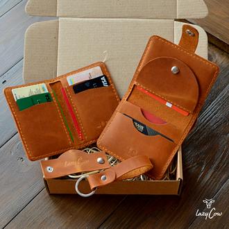 Подарочный набор из на натуральной кожи цвета кемел