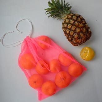 Эко мешок ярко-розовый, еко мешочки для покупок, эко пакет, сеточка, фруктовка, мішечки zero weste