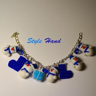 Браслет снеговички , браслет со снеговиками из полимерной глины, новогодняя бижутерия