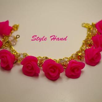 Браслет розы , браслет с цветами из полимерной глины, цветочная бижутерия