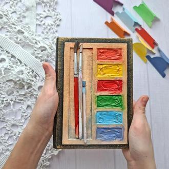 """Блокнот А6 с молочными страницами в линию """"Краски"""""""