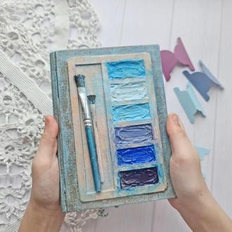 Блокнот Монохром, оригинальный блокнот в подарок, голубой блокнот