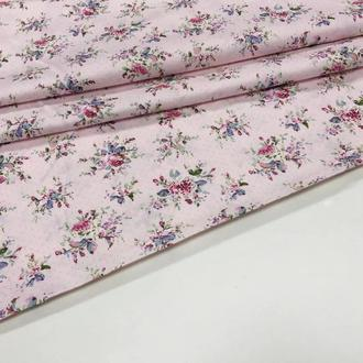 Ткань хлопок для рукоделия Цветы и мелкий горошек
