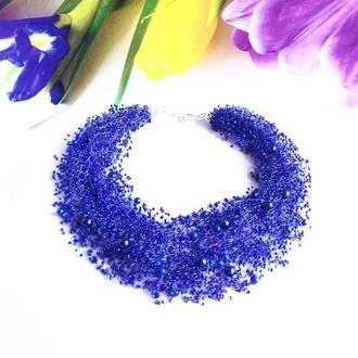 Синее насыщенное воздушное колье Эксклюзивный подарок Шикарное колье
