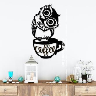 "Деревянная картина-панно ""Owl coffee"""