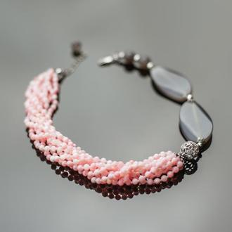 Нежнее нежного. Коралл розовый, агат, серебро 925 пробы