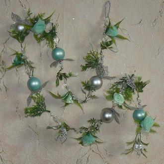 Рождественская гирлянда с бусинами и шарами