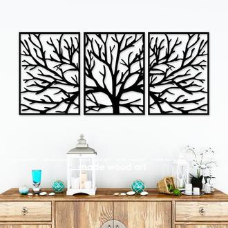 """Деревянная картина-триптих """"Tree branches"""""""