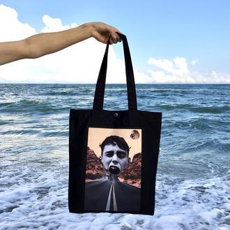 Черный арт шоппер с принтом Коллаж 1, модная эко сумка с карманом, сумка для покупок, арт торба