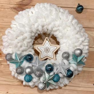 Венок новогодний декоративный Blue stars