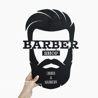 """Деревянная картина-панно """"Barbershop 001"""""""