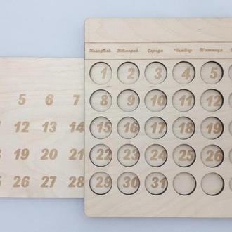 Деревянный вечный календарь настенный Дерев'яний вічний календар настінний