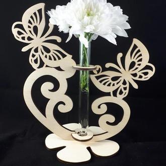Деревянная ваза с пробиркой (колбой) Дерев'яна ваза з пробіркою (колбою)