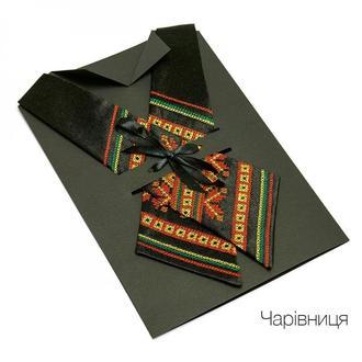 Кросс галстук с вышивкой