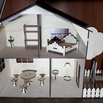 Домик для кукол деревянный с мебелью два этажа Будинок для ляльок дерев'яний з меблями два поверхи