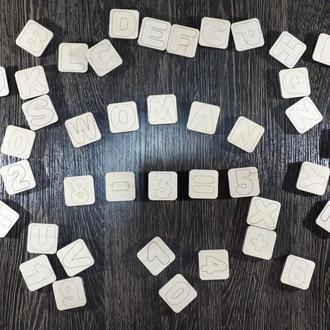 Деревянная магнитная азбука с цифрами украинская английская Дерев'яна магнітна абетка з цифрами українська