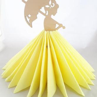 Деревянная салфетница девушка с зонтиком из фанеры Дерев'яна серветниця дівчина з зонтом з фанери