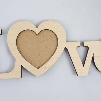 Деревянная фоторамка рамка для фотографий Love Дерев'яна фоторамка рамка для фотографій Love