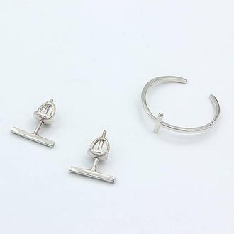 Срібна каблучка та сережки Лаконічність