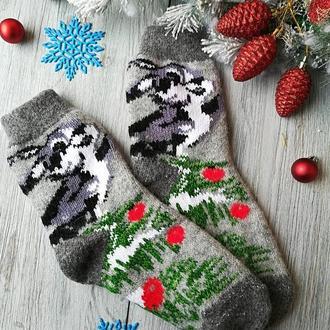 Шкарпетки жіночі зимові вовняні в'язані новорічні на новий рік Зайчик на сірому, р. 38-41