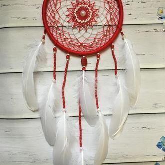 Красный ловец снов,красно-белый ловец снов, ловец снов
