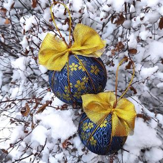 Набір синіх кульок з золоти узором. 2 шт діаметром 8 і 10 см