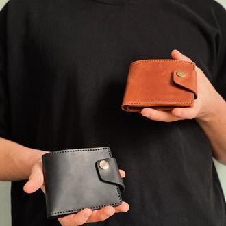 Шкіряний коричневий гаманець - Чоловічий гаманець - Жіночий гаманець - з гравіюванням