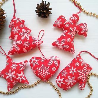 Набір новорічних іграшок з тканини
