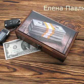 Купюрница ′Пачки денег′,подарок мужчине,шкатулка для денег,