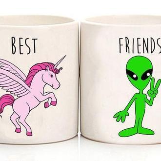 """Парные белые чашки (кружки) с принтом """"Единорог и Инопланетянин"""""""