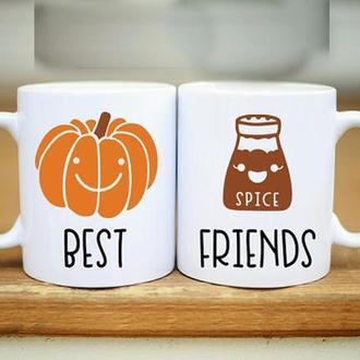"""Парные белые чашки (кружки) с принтом """"Best friends"""""""