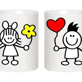 """Парные белые чашки (кружки) с принтом """"Девочка с цветком. Мальчик с сердцем"""""""