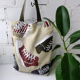 Эко сумка для покупок с кедами, сумка пакет, еко торба, молодежная сумка шоппер