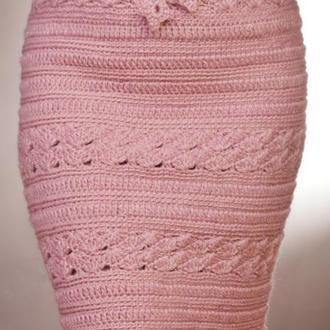 Шерстяная вязаная  юбка миди пудрового цвета