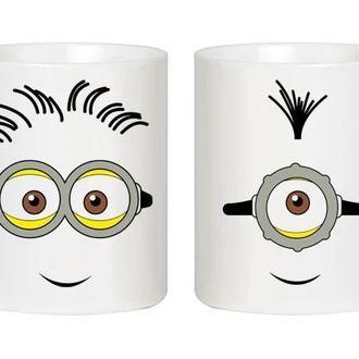"""Парные белые чашки (кружки) с принтом """"Миньоны"""""""