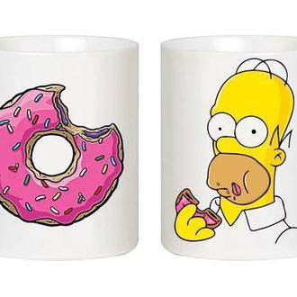 """Парные белые чашки (кружки) с принтом """"Симпсон и пончик"""""""