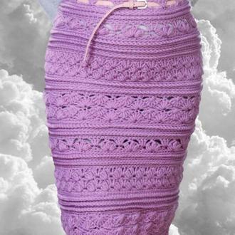 Шерстяная вязаная сиреневая  юбка миди
