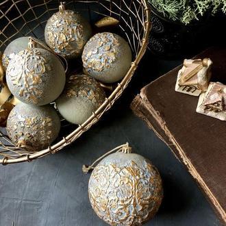 Набор елочных шаров в винтажном стиле, ручная работа