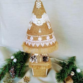 Новорічна декоративна ялинка з мішковини інтер'єрна ялинка