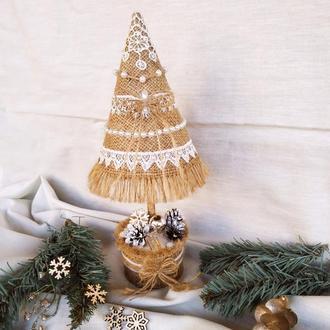 Новогодняя декоративная елочка из мешковины интерьерная елочка